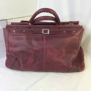 New BABAK Weekend Travel Bag Tote Leather Burgundy